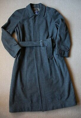 """Burberry Vintage Grey Wool Alpaca Belted Single Breasted Coat S/M Ch44"""" L46"""""""