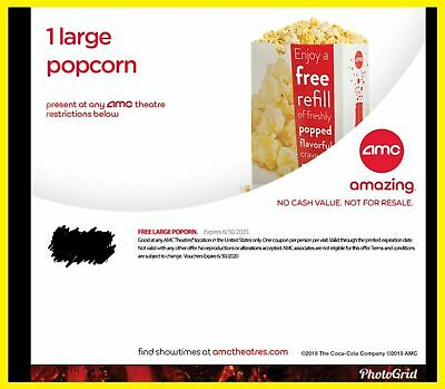 1 Large TUB Popcorn AMC Theaters || EXP. 6/30/2020 E-DELIVERY HURRY GREAT