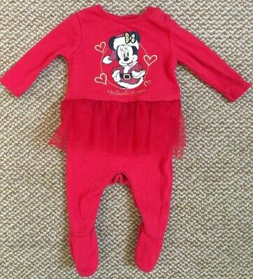 F&F Girls Disney Minnie Mouse Red Christmas Tutu Bodysuit 'Up To 1 Month'