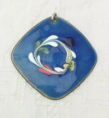 VINTAGE 60s 70s Mid Century MODERNIST Enamel on Copper Pendant with Chain
