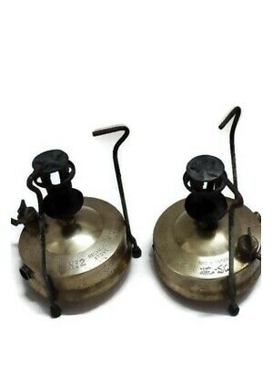Vintage Rare Pair HIPOLITO Portugal Original Rechaud Stove No.2 Trademark Brass