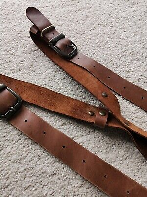 Leather Shoulder Strap Harness Dual Camera Quick Release Brown Adjustable Size