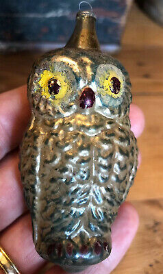 Antique GERMAN HEAVILY EMBOSSED OWL GLASS CHRISTMAS ORNAMENT Silver Blue