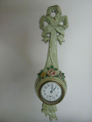 Antique Ansonia Clock Wind Up Wall Mount Metal Floral Frame