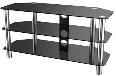 3-Tier TV Stand Black Glass Corner Unit Cabinet Wide for Television Up to 50 55