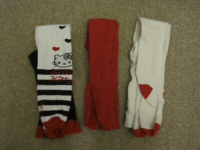 Girls tights bundle x 3 2-3 years blue red white hello kitty