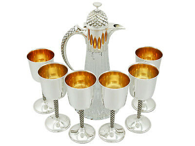 Sterling Silver Mounted Glass Claret Jug and Matching Goblets by Anthony Elson