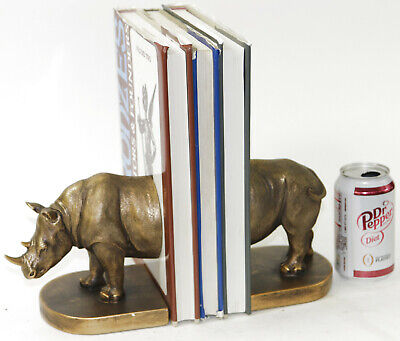 London Ornament Pair Rhino Bookends Animal Statue Polyresin  Artwork Handcrafted