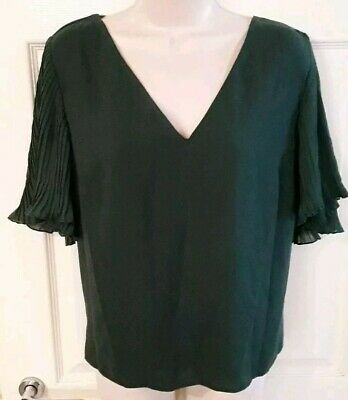 Brand New With Tags New Look Women's Dark Green V-Neck Top Size 16 rrp £19.99