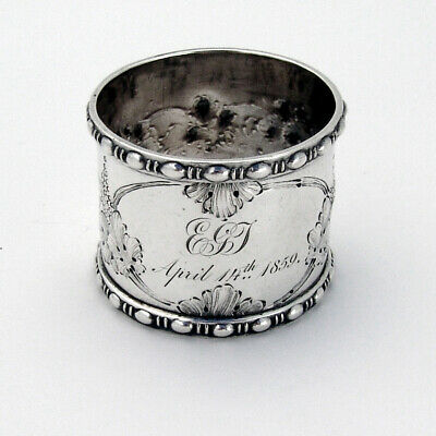 Ornate Repousse Grapevine Large Napkin Ring Sterling Silver Mono