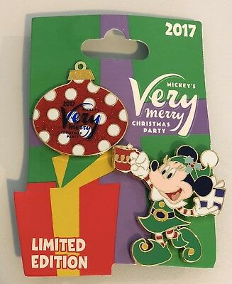 Disney Minnie Mouse 2017 Very Merry Christmas Party 2 Pin Set LE With Party Map