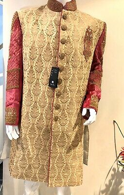 Indian/Asian Cream Gold And Pink Mens Wedding Suit /Men Sherwani /Groom Suit