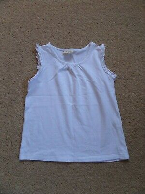 FABULOUS Girl's MINI BODEN Ruffle Vest Top Age 5-6 White Perfect for NOW