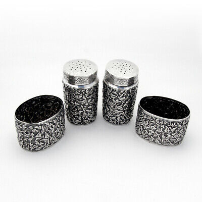 Floral Repousse Open Salts Pepper Shakers 2 Sets Chinese Export Silver