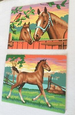 """2 Vintage Paint By Number Horse And Baby Unframed - 6""""x 8"""""""
