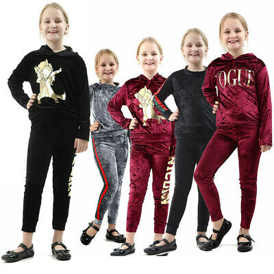 New Kids Vogue Velvet Velour Unicorn Childrens Tracksuit Lounge wear Co-Ord Set