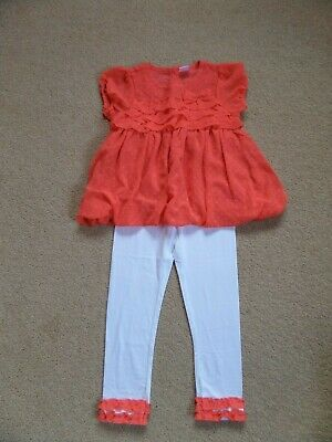 BNWOT Girl's DESIGNER Outfit Age 6 Top & Leggings Coral & White From USA