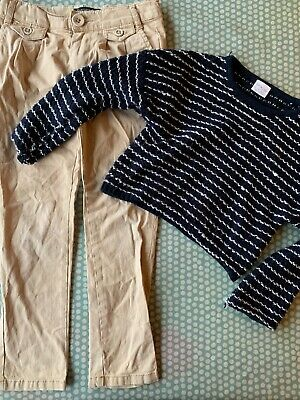 Girls 5-6 Outfit. Spring Trousers And Navy Striped Jumper