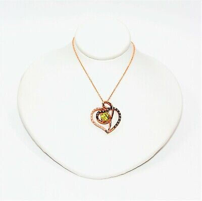 LeVian Sphene & Diamond 1.24tcw 14kt Rose Gold Heart Limited Edition Necklace