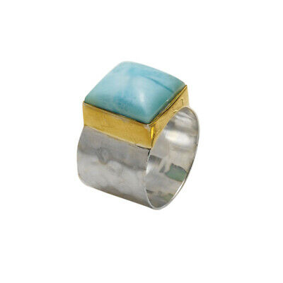 Women's Larimar Ring - Large Single Blue Stone in Brass & Sterling Setting
