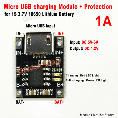 1A Micro USB Charger Module+Protection For 1S  3.7V Lipo Lithium Li-ion Battery