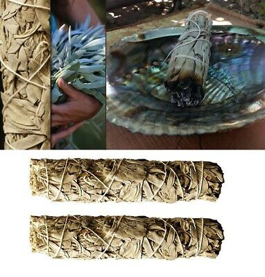 """2PCS White Sage Smudge Stick 4"""" - 5"""" (Herb House Cleansing Negativity Removal)"""