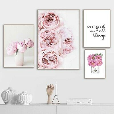 Canvas Painting Nordic Decor Pink Peony Flower Poster Wall Art Floral Decor #sum