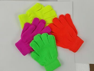 Kids Childrens Girls Boys Neon Color Stretchy Magic Warm Winter Thermal Gloves!!