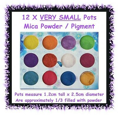 12 x SMALL mica powder mineral pigment soap eyeshadow polymer clay candle nail