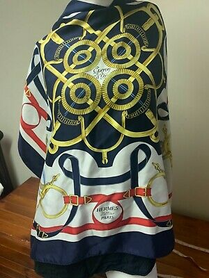 Vintage HERMES 100% Silk Scarf Eperon d'Or 90cm Navy White Red - 1974