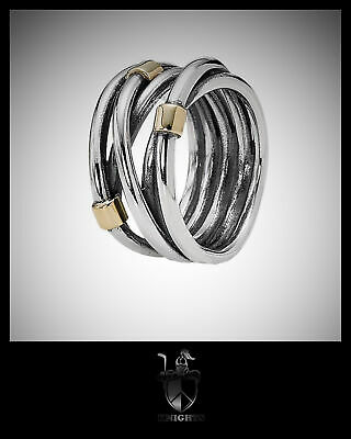 GENUINE AUTHENTIC PANDORA Retired Woven Silver & Gold Rope Ring item 190383-54