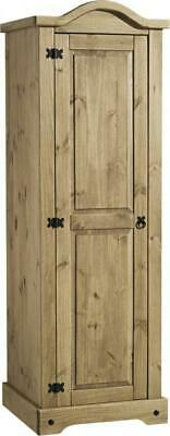 Corona 1 Door Single Wardrobe in Distressed Waxed Pine