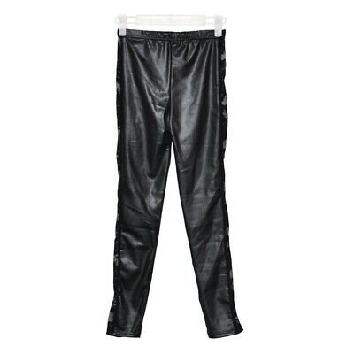 Ladies Sexy Wet Look Leggings Black Lace Side Shiny Leather Look F2Y6