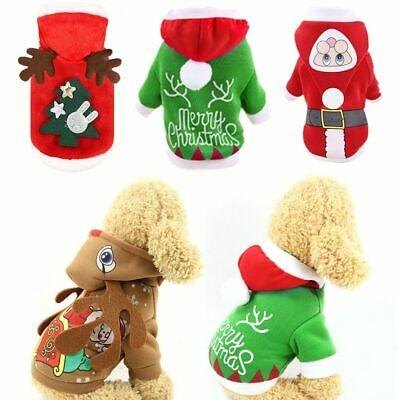 Pet Puppy Cat Dog Christmas Costume Small Coat Outfit Warm Clothes Jumper Xmas