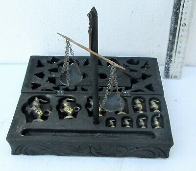 Beautifully Carved Vintage Opium Scale & 10 Elephant Weights HANDMADE