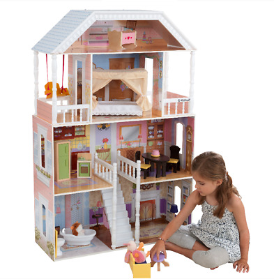 Barbie Size Wooden Dollhouse Furniture Doll Girls Playhouse Play House 14pc NEW