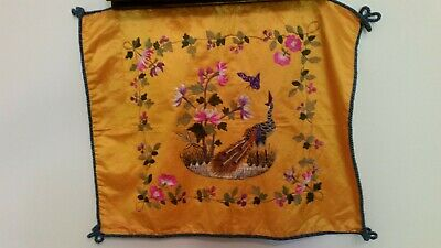Chinese Silk panel emroidered pillow case antique vintage perfect