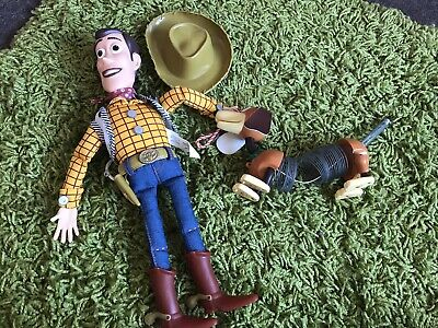 Disney Toy Story Bundle Figures Talking Woody with hat, And Slinky