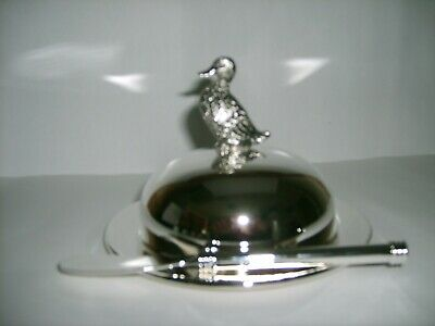 Silver Plated And Glass Duck Butter Dish And Spreader