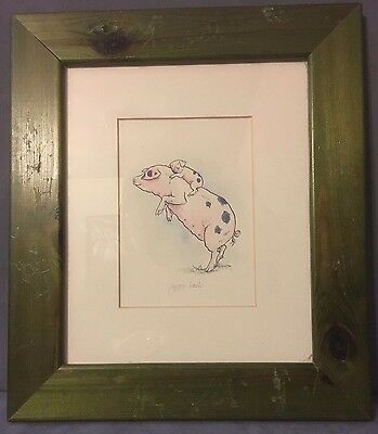"""""""Piggy Back"""" Nursery Picture in Green Frame"""