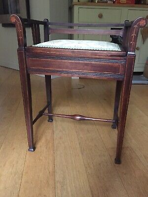 Beautiful Edwardian Inlaid Mahogany Piano Stool  With Storage