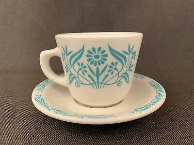 Homer Laughlin Restaurant Diner Ware, Coffee Cup & Saucer, Turquoise Leaf Border