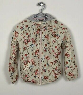 NEXT Girls Age9 Raincoat Floral Hooded Zipped Front Pockets Lined Cream Red