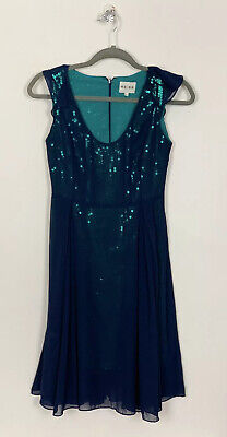 REISS UK4 Dress Fit & Flare Navy Chiffon Overlay Green Sequins Occasion