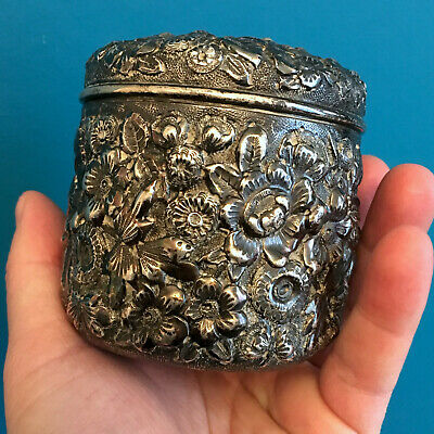 Antique Black, Starr & Frost Sterling Silver Hand Chased Repousse box 177 grs