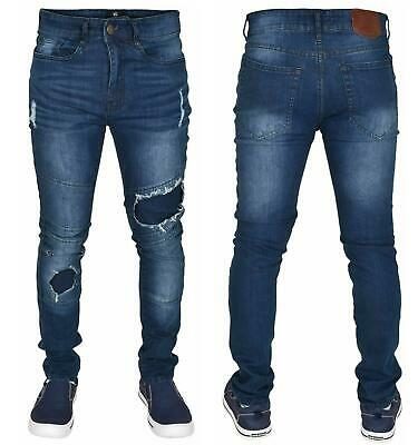 Mens Ripped Jeans Skinny Fit Straight leg Cotton Denim Pants Trousers Size 28-40