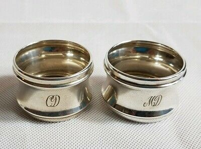 Beautiful Antique Hallmarked Sterling Silver Napkin Rings Birmingham