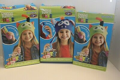 Snuggle Puppets Hatz - Squeeze & tail flips - 2x Green 1 x Blue Monster - unused
