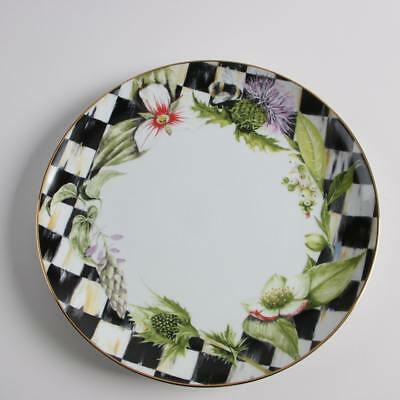 NEW! Set of 4 Mackenzie Childs THISTLE & BEE Dinner Plates-Garland Courtly Check