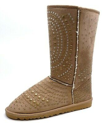 Ladies Womens Snug Chestnut Studded Flat Mid Calf Winter Fur Lined Boots Shoes
